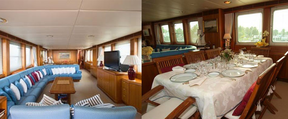 Evnike Yacht for sale - Indoor Living Area