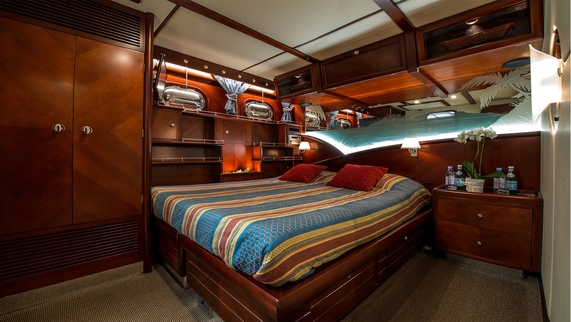 Double beds in all cabins