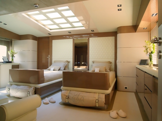 Master bedroom with 2 large custom twin beds