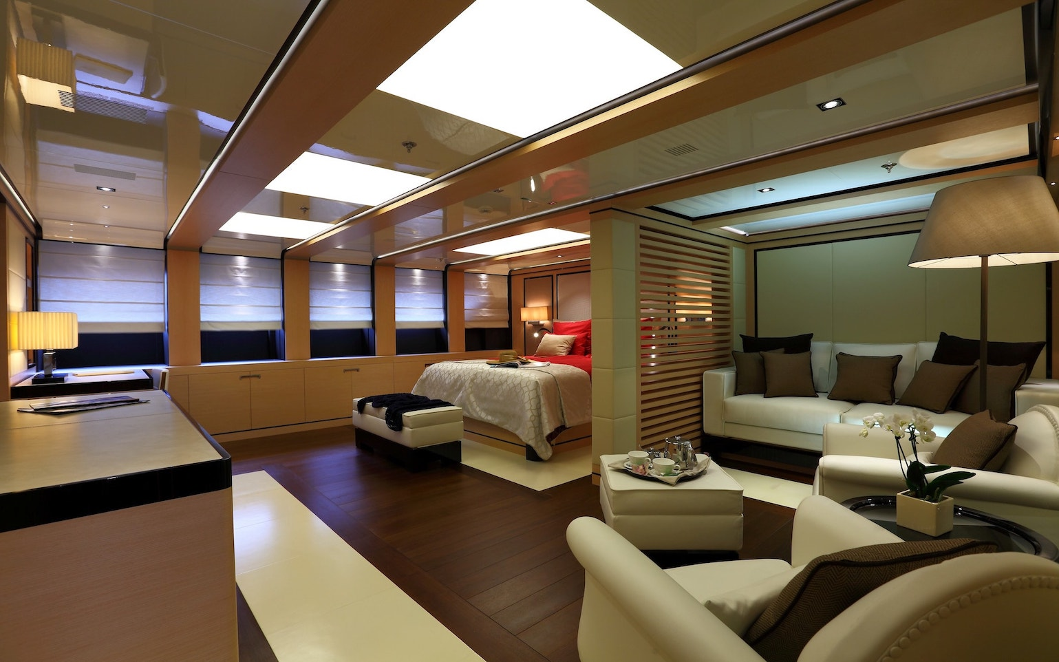 Two full width master suites on main and upper deck