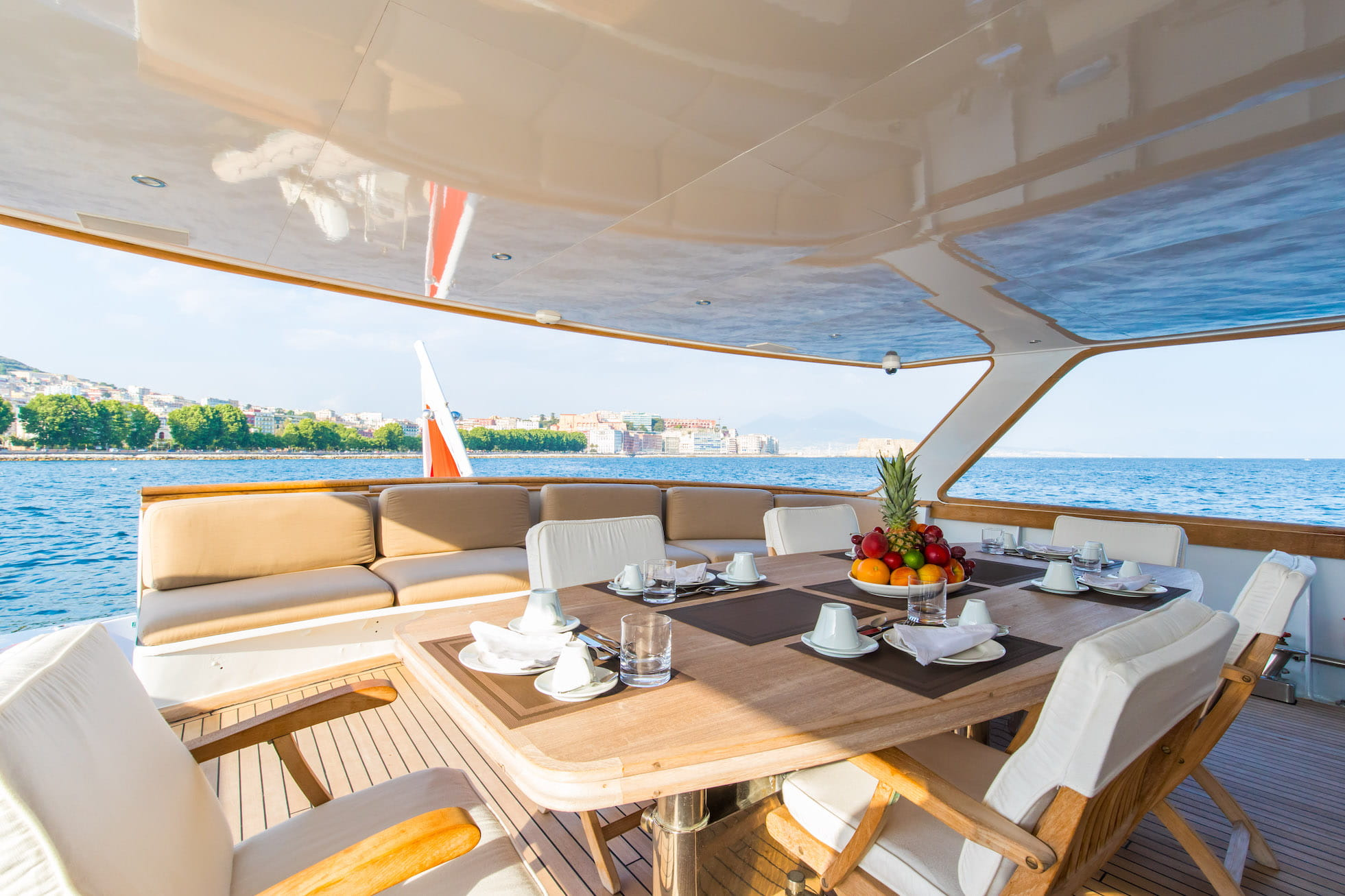 Spacious aft deck dining area