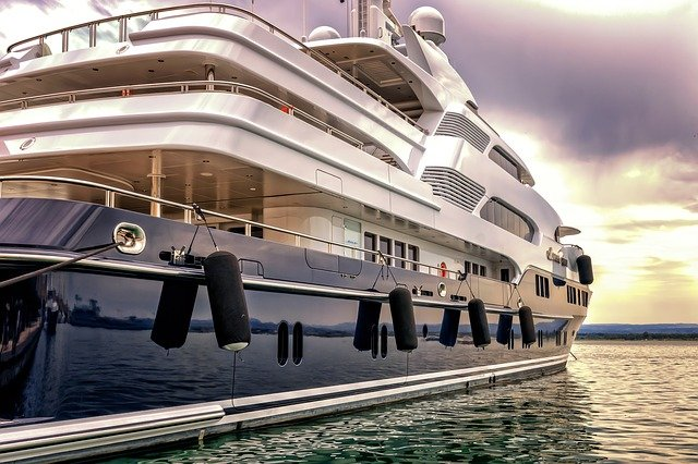 Photo of a luxury yacht side.