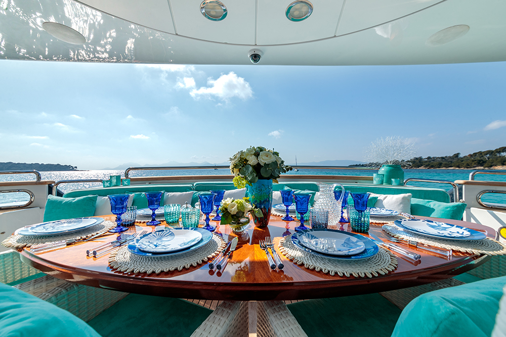 yacht charter service lunch on board